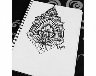 Dot-work lotus flower tattoo design.
