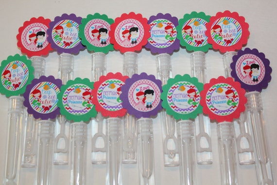 Little mermaid ariel mini bubble wands birthday party favors for Mini bubble wands