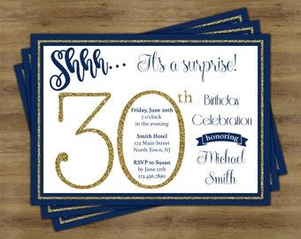 Surprise 30th Birthday Invitation; Surprise Birthday Invitation; Surprise Party Invitation; 30th Birthday Invites