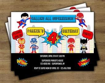 Superhero Invitation; Superhero Birthday Invitation; Superhero Party Invitation; Super Hero Invitation; Super Hero Birthday Invitation