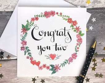 Congratulations card, wedding card, greeting card, blank card, celebration card