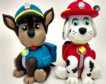 Paw Patrol Marshall and Chase the Rescue Dogs Fondant Cake Topper Decoration