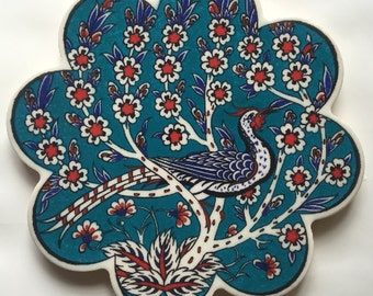 Turkish Ceramic Clay Scallop Trivet - Traditional Ottoman Kush Design