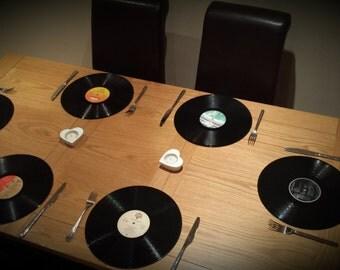 "Set of 6 retro / vintage 12"" vinyl Record Placemats"