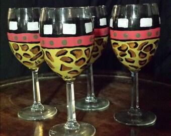 "Hand painted""animal print"" wine glasses"