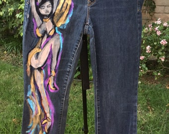 """Hand Painted """"Angel"""" Jeans by Riz22"""