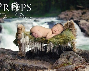 Newborn wooden prop bed by waterfall - DIFFERENT SETTINGS in one set _ digital backdrop_Newborn digital backdrops