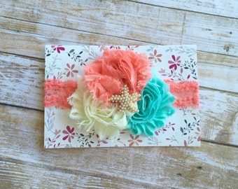 Coral Lace Shabby Chic Headband w/ Starfish Rhinestone/Baby Headband/Infant Headband/Baby Girl Headband/Toddler Headband/Newborn Headband