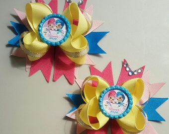 Shimmer and Shine Girls Hair Bows.  Set of 2