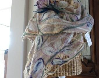 felted scarf ,art to wear,wool csarf, nuno felted schiffon scarf ,faschion by Beam