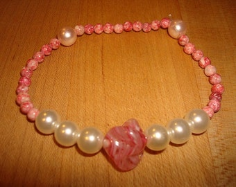 Pink Swirled Beads And White Faux Pearl Bracelet / Anklet Handmade