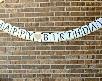 Happy Birthday Banner. Black and Gold Birthday Banner.  Gold Happy Birthday. 30th Birthday. 40th Birthday. 50th Birthday. 60th Birthday.
