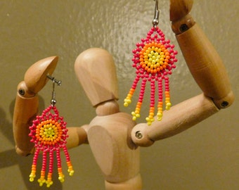Beautiful and Unique Huichol Mexican Earrings