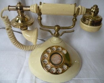 Vintage Dial Phone, French Imperial , Hollywood regency,Raised scroll work
