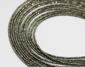 Pyrite Faceted Rondelle Loose Beads 15.5'' Long Per Strand. Size 1.5x2mm .I-PYR-0316