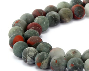 Matte Africa Bloodstone Round Gemstone Loose Beads 15.5 Inch per Strand, Size 4mm/ 6mm/8mm/10mm/12mm.R-M-JAS-0191