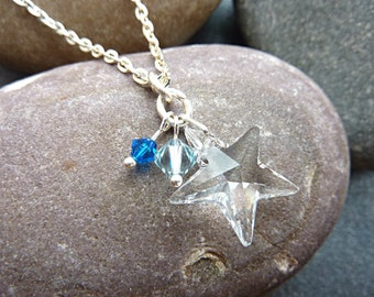 Star Necklace. Swarovski Crystal Star Charm Necklace with Blue Swarovski Beads. Sparkly Star Pendant Necklace Jewellery on an 18 inch Chain.