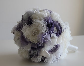 Bouquets with fabric flowers, Rhinestones, pins and beads