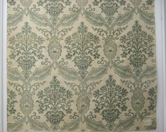 Antique 19th C. French Damask Print on Linen (9504)