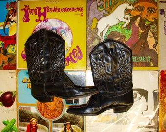 FREE SHIPPING Vintage Black Leather Cowboy Boots