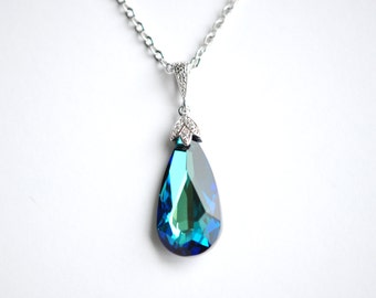 Swarovski Crystal Teardrop Pendant Teardrop Necklace Blue Bridal Necklace Wedding Pendant Wedding Jewelry