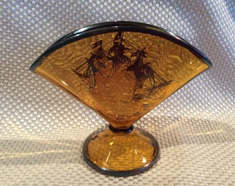 Antique Carnival glass Fenton fan vase sterling silver Spanish Gallion sailboat ship