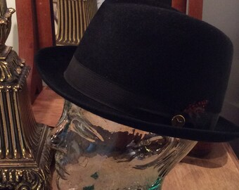 Vintage man bowler hat black fur felt fedora size 6 7/8