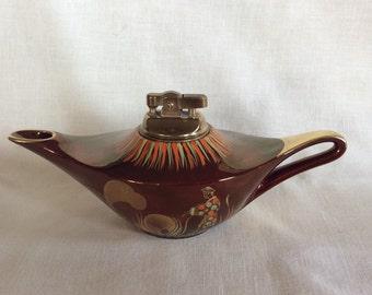 Vintage Carlton ware Rouge Royale Aladdin lamp shape cigarette lighter mid century