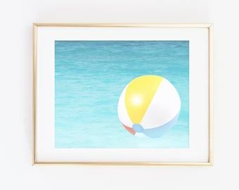 Inflatable Ball Print, Swimming Pool Art Print, Printable Wall Art, Water Print, Modern Wall art, Summer vibes, Summer Wall Art, Modern Art