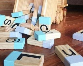 Alphablocks - Wooden Alphabet Building Blocks Grey & Green - NOVEMBER PRE ORDER