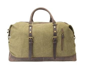 Handmade Leather Trimmed Waxed Canvas Travel Bag Duffle Bag Holdall WeekenderBag