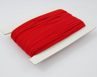 5, 10, 50, 100 meters of cotton cord 4 mm Red