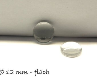 Clear 12 mm glass cabochons - flat round 20 PCs
