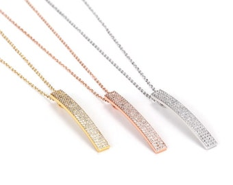 Lacey Pave Bar Necklace