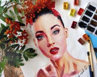 Portrait. Portrait watercolor. Watercolor. CustomPortrait Girl - Personalized watercolor portrait from photo-painting