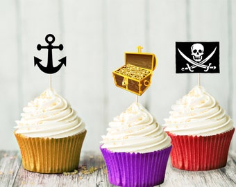 Pirate Cupcake Topper Set - Birthday Party - Pirate Party - Decoration