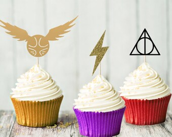 Harry Potter Cupcake Topper Set decoración - fiesta de cumpleaños partido - Hogwarts - Harry Potter-