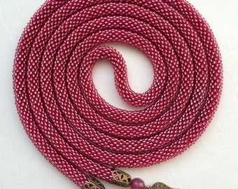 Long Beaded Crochet Rope Necklace, Beaded Lariat Necklace