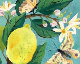 Tea Time / A4 Giclée Art Print Signed by Livia Coloji / Art Print / Wall Art / Room Decor with Lemons, Flowers and the Death / Lowbrow art