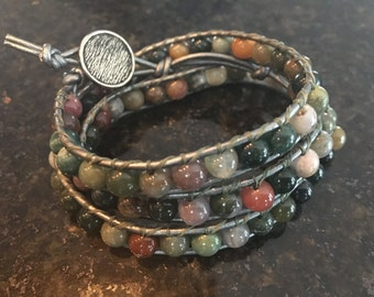 Triple-wrap green, teal, rose and grey leather bracelet, Chan Luu style