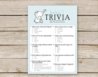 Blue Elephant Baby Shower Trivia Game - Printable Download - Blue Boy Baby Shower Game