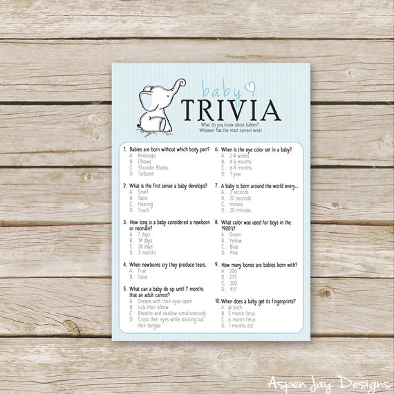 baby shower trivia game printable download blue boy baby shower
