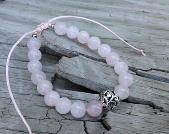 Adjustable Bracelet, Rose Quartz Wrist Mala, Meditation Beads