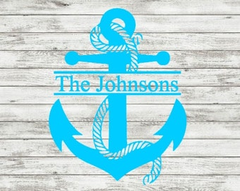 Personalized Anchor Themed digital file with bonus cursive letters in svg, png & silhouette studio-cricut explore-personal or commerical use