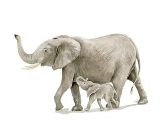 Watercolor Elephant print - elephant art print -  nursery safari wall art - safari baby boy room