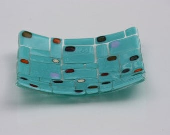 Fused Glass Bowl Turquoise