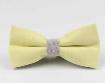 Bowstie - Hand made bowtie - Yellow & Grey