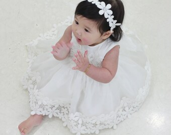 Set j-Baby Christening Dress(Bonnet+Bloomer+Shortdress), Handmade, Baptism Dress, Party Dress, White Dress, Infant dress, Cotton Dress