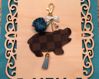 Bag Charm Key Chain made from REAL Louis Vuitton Monogram Canvas - Candy