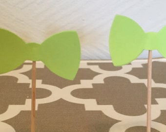 Bow Tie Cupcake Toppers - Customizable Colors